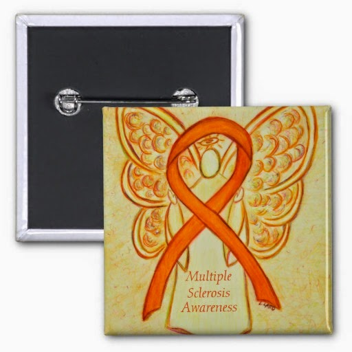 Multiple Sclerosis Guardian Angel Orange Awareness Ribbon Lapel Pin or Buttons