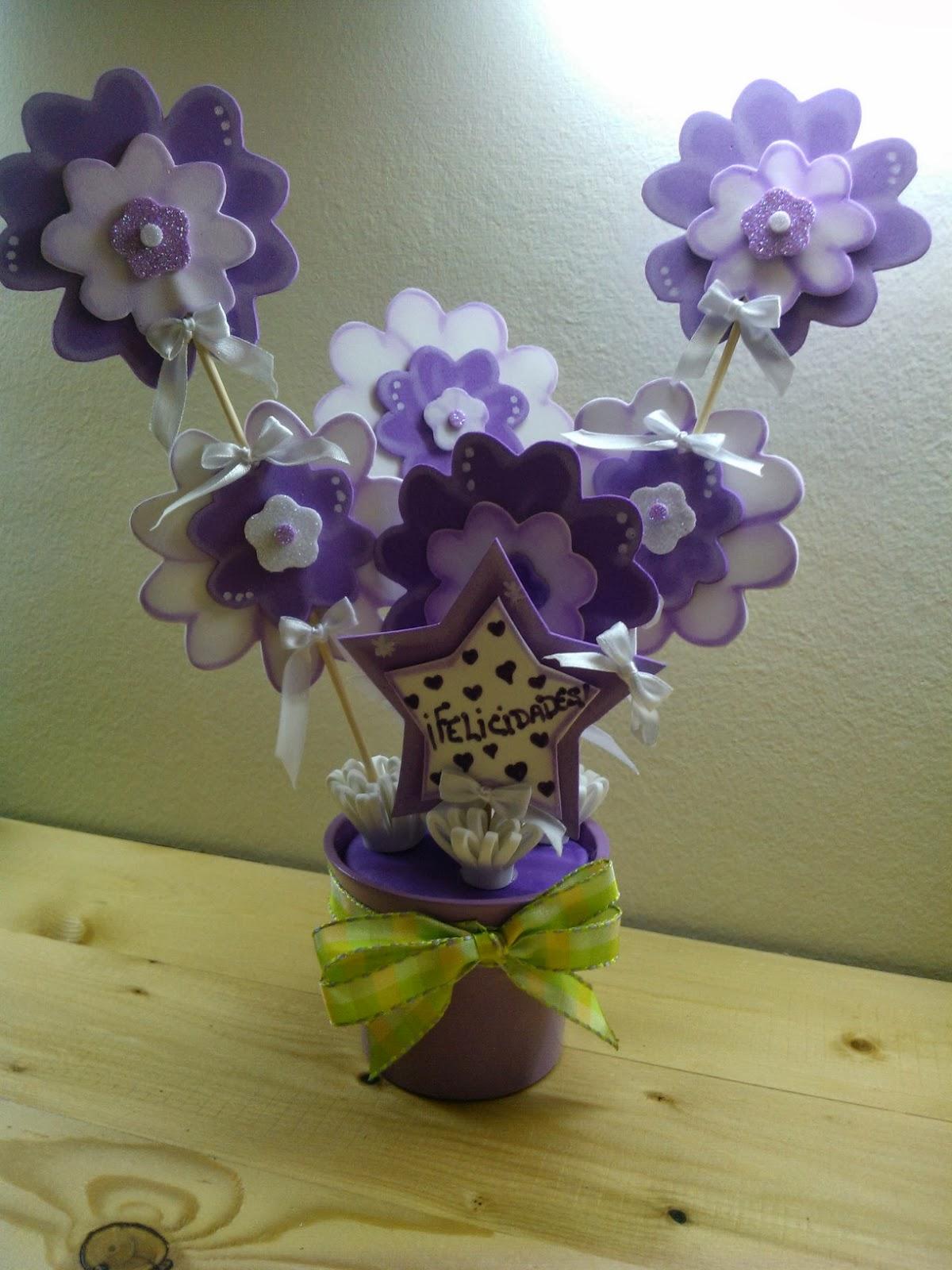 Cucadas de mami maceta decorada flores - Goma eva decorada ...