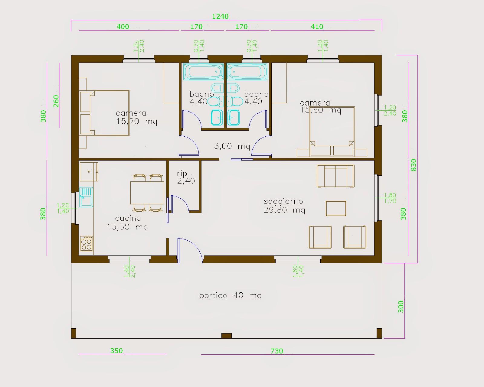 Progetti di case in legno casa 103 mq terrazza coperta for Piccoli piani cabina con soppalco e veranda