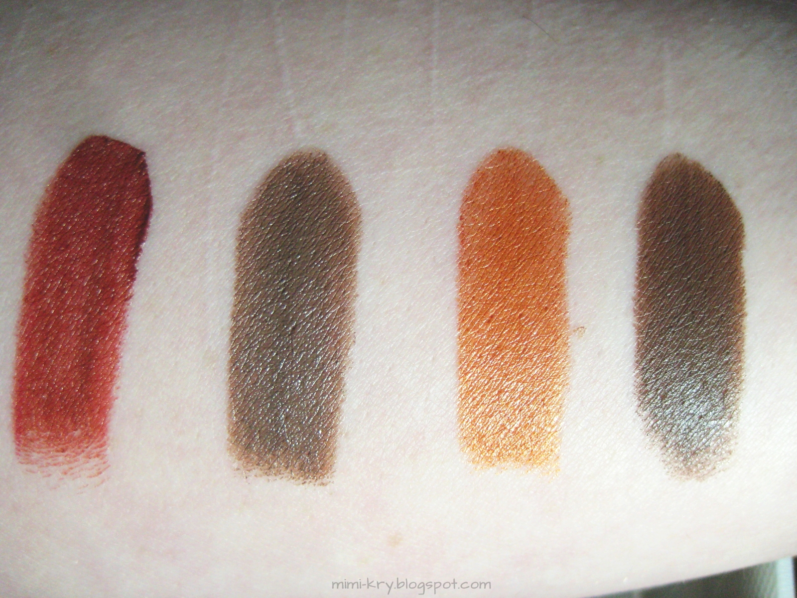 "Swatch MBA Cosmetics Lip Paint ""Another Brick In The Wall"" und Lip Sticks ""Taupucchino"", ""Spiced Pumpkin"" und ""Godiva"""