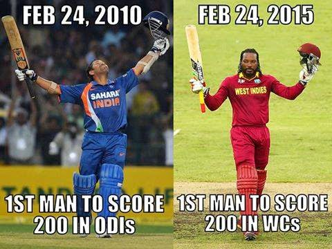 Sachin Tendulkar and Chris Gayle double century
