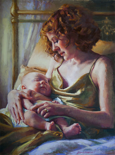 this is the final pastel portrait of my daughter, Jessica with her baby, Ezra