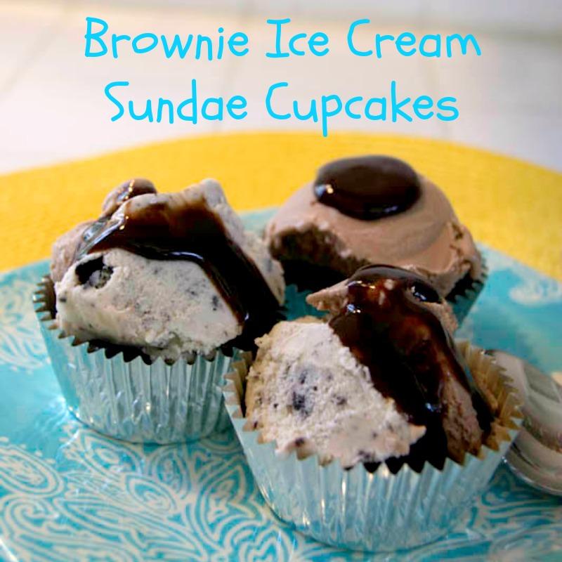 Brownie Ice Cream Sundae Cupcakes