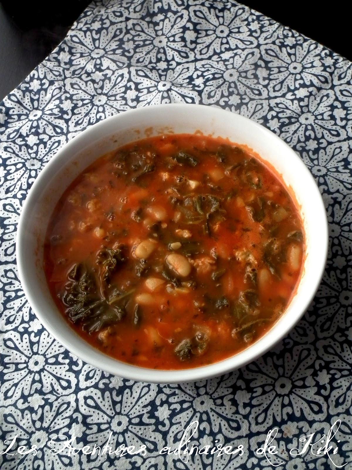 faits avec amour les aventures culinaires de kiki soupe express tomates saucisses kale et. Black Bedroom Furniture Sets. Home Design Ideas