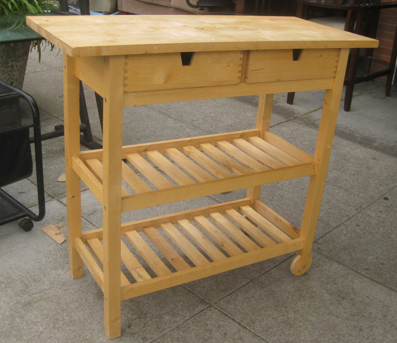 Uhuru Furniture Collectibles Sold Rolling Butcher Block Kitchen Cart 60