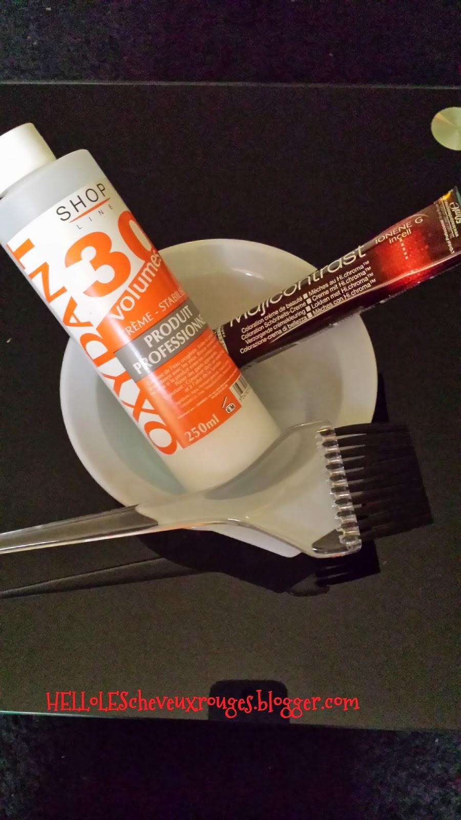 préparation il faut un bol, un pinceau, un flacon d'oxydant, le tube de coloration du Majicontrast Rouge de chez L'Oréal Professionnel