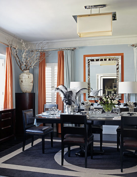 Southgate residential color inspiration blue and orange for Orange and grey dining room