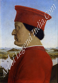 Federigo, the Count (later Duke) of Urbino, was one of the most distinguished men of his time as much a scholar as a soldier. The choice of a profile view for his portrait was dictated by the horrible injury he sustained in a tournament, when he lost his right eye; his disfigured nose was a result of the same accident.