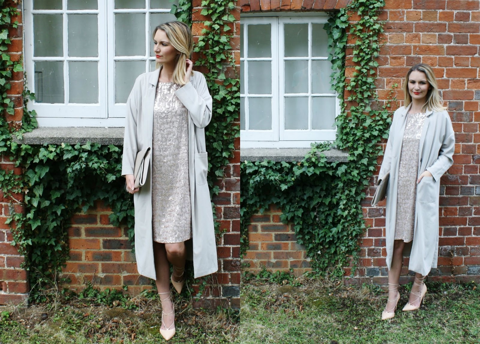 nude sequin t-shirt dress and duster coat and lace up shoes