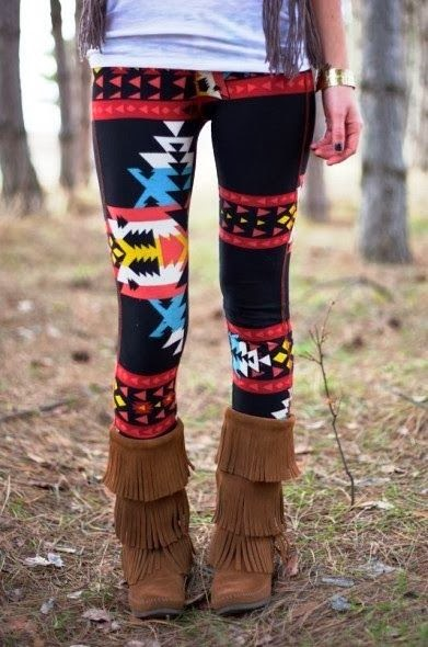 Street Style,Colorful Patterned, Cute Tights with Fashionable Brown Long Boots, Love It