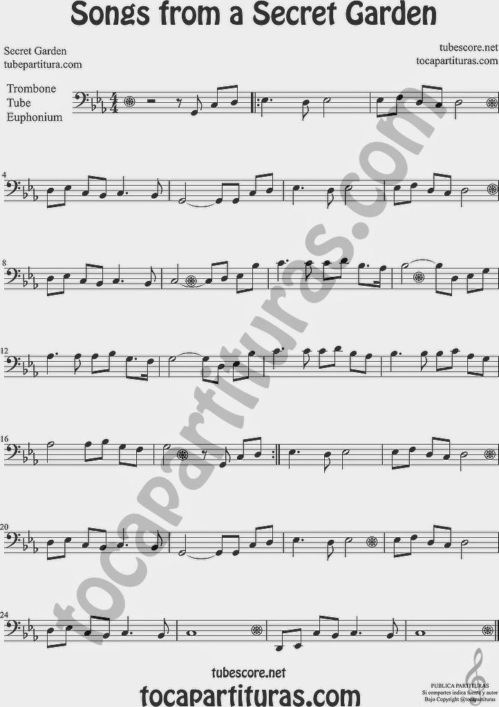Songs from a Secret Garden Partitura de Trombón, Tuba Elicón y Bombardino Sheet Music for Trombone, Tube, Euphonium Music Scores