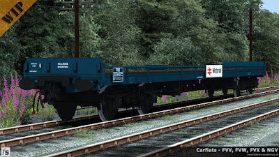 Fastline Simulation - Carflats: An FVX carflat to diagram 1/088 in Rail Blue livery with vacuum and air brakes, fixed sides with steel ends and Motorail branding.