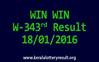 WIN WIN W 343 Lottery Result 18-01-2016