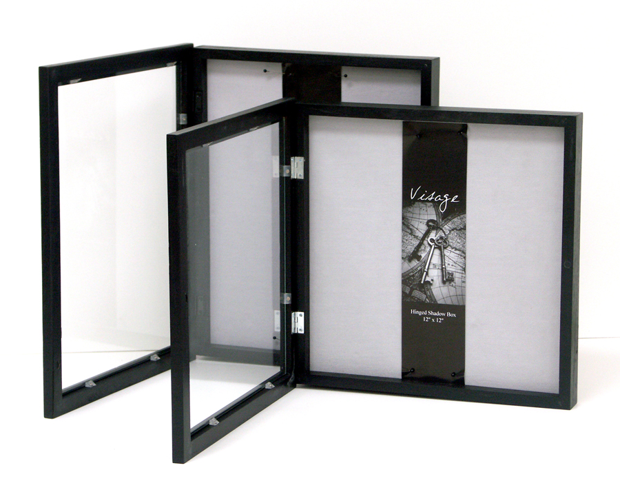 Visage Hinged Shadowboxes   The Plush Fabric Backing In These Shadowboxes  Is Ideal For Securing Items With Pins And Thread. The Hinged Front Doors  Make It ...