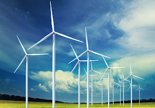 Wind Generator Field Sky Clouds HD Wallpaper