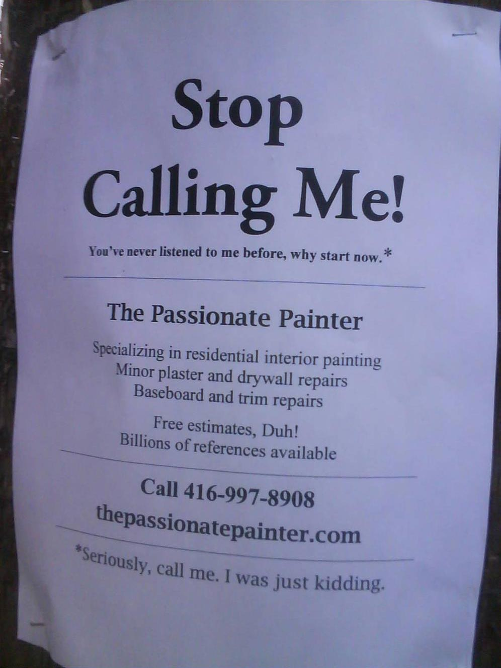 The passionate painter funny ads