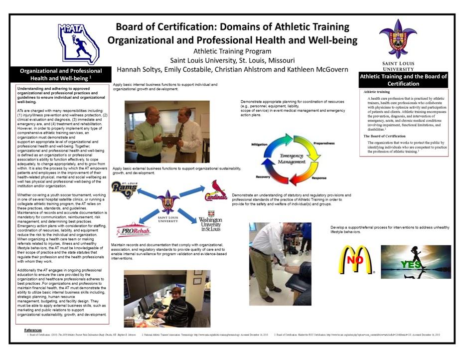 Saint Louis University Athletic Training Program: March 2013