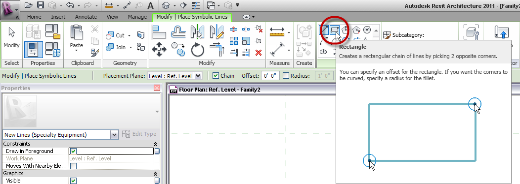Drawing Lines In Revit : The architect s desktop revit rectangle tool in families