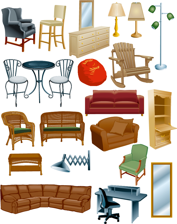 Variety of furniture clip art ai eps Living room furniture b q