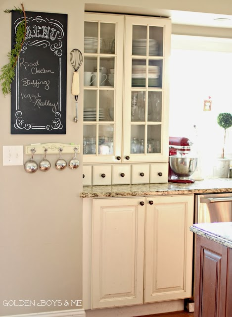 Chalk  menu board with red Kitchen Aid mixer in white Christmas kitchen-www.goldenboysandme.com