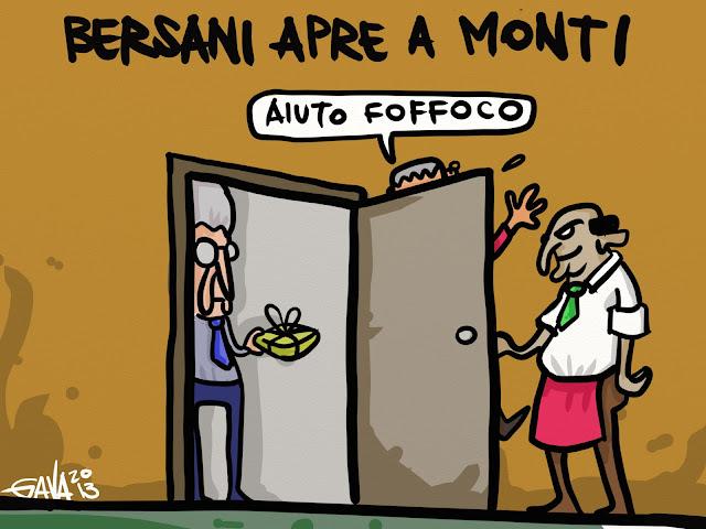 gavavenezia gava satira vignette venezia politica caricature ridere aperture bersani monti vendola sel aprire chiudere porta porte legno