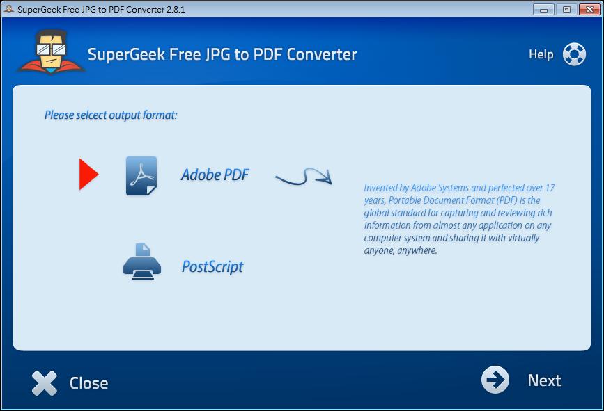 免費JPG轉PDF軟體推薦下載(JPG To PDF):SuperGeek,支援JPG,GIF,BMP,TIF,PNG圖檔批次轉檔工具