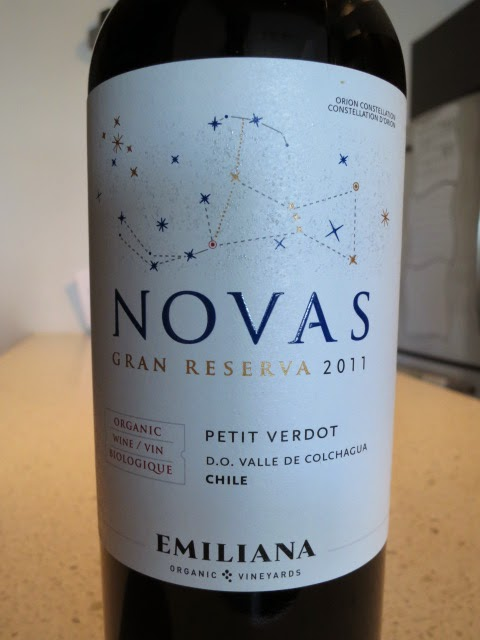 Wine label of 2011 Emiliana Novas Gran Reserva Petit Verdot from Colchagua Valley, Chile