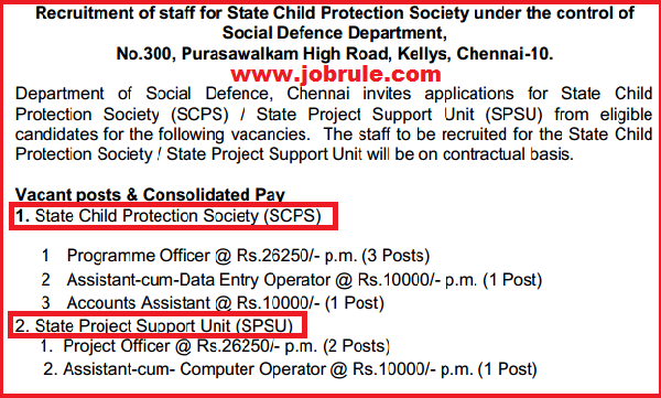 Tamil Nadu Social Defence Department SCPS/SPSU Latest Jobs Opening February 2015