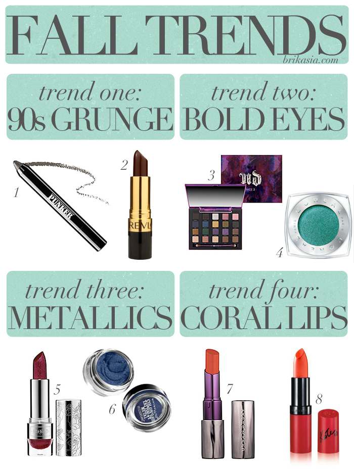 fall beauty trends, grunge makeup, bold eyes, metallic makeup, coral lipstick, beauty trends, makeup trends, 2013 trends