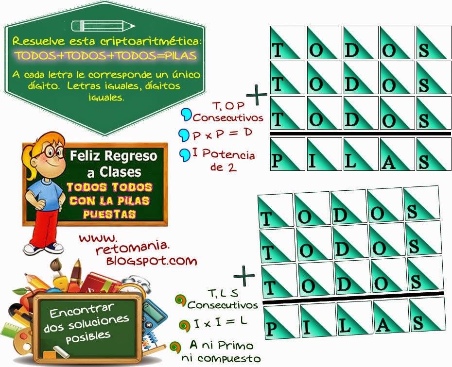 Alfamética, Criptoaritmética, Criptosumas, Criptogramas, Desafíos matemáticos, Retos matemáticos, Problemas de lógica, Problemas matemáticos.