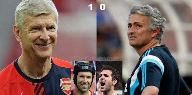 Wenger Mourinho Cech Fabregas Community Shield 2015 Arsenal Chelsea