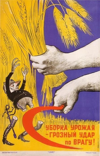 Уборка урожая - грозный удар по врагу! Soviet military posters of times of World War II. Harvesting is terrible blow to the enemy.