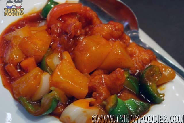 prawns with lychee and peaches
