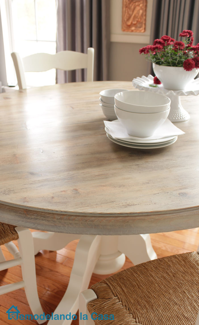 Breakfast Set Makeover With Pedestal Table And Rushed Seat Chairs.