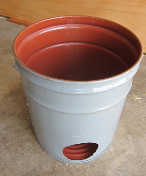 how to cut a hole in a steel bucket