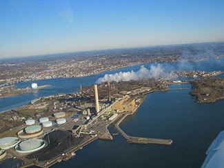 A plan by Footprint Power would replace power from oil and coal generators at Salem Harbor in Massachusetts with natural gas, adding to a downward trend in greenhouse gas emissions as gas power plants have taken off in New England. Photo courtesy of the Conservation Law Foundation. Click to enlarge.