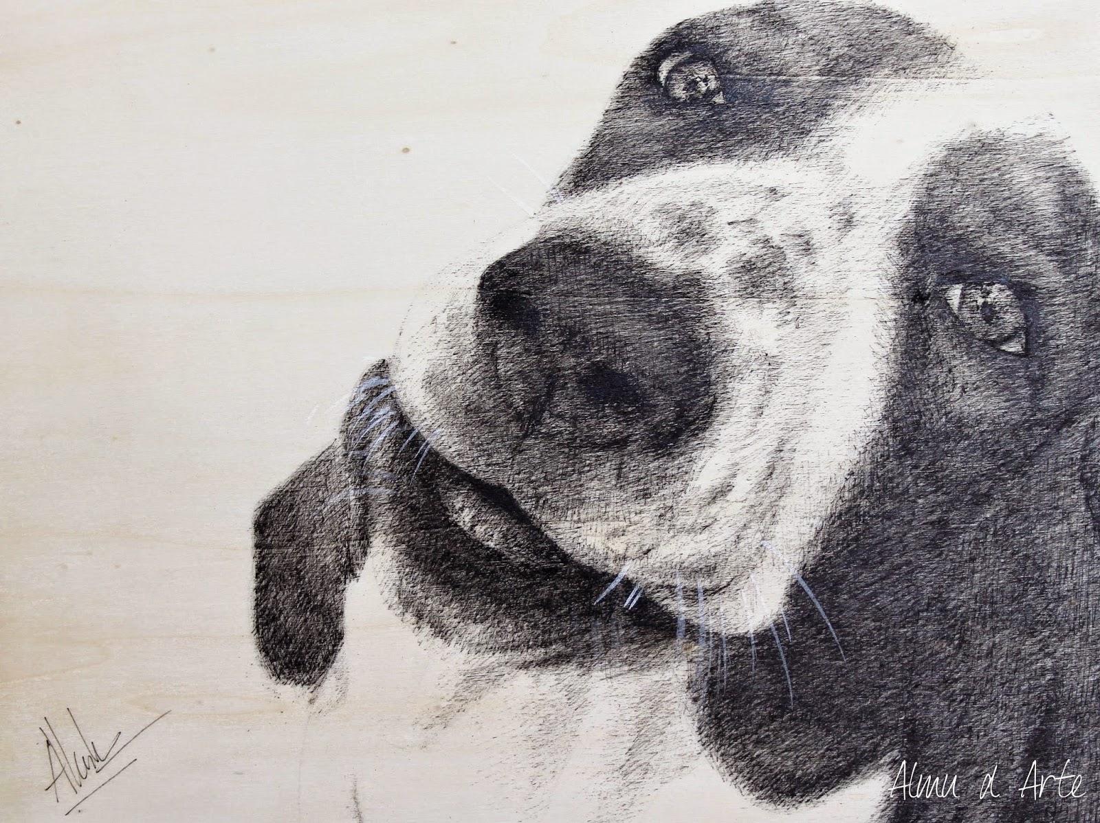 Dibujo de un perro en blanco y negro