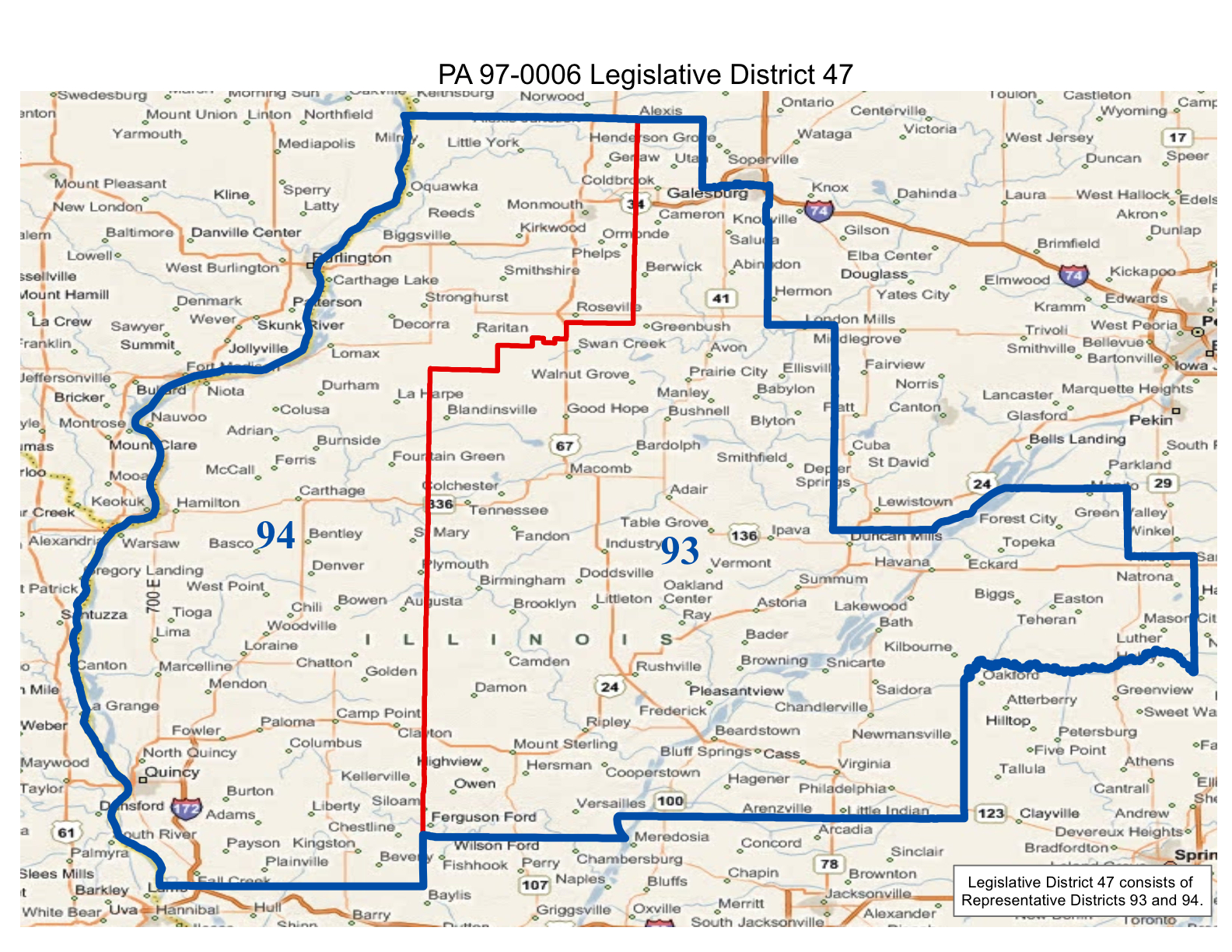 map of realigned illinois state senate district 47 and state representative districts 93 and 94