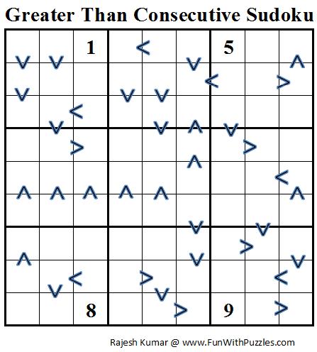Greater Than Consecutive Sudoku (Daily Sudoku League #66)
