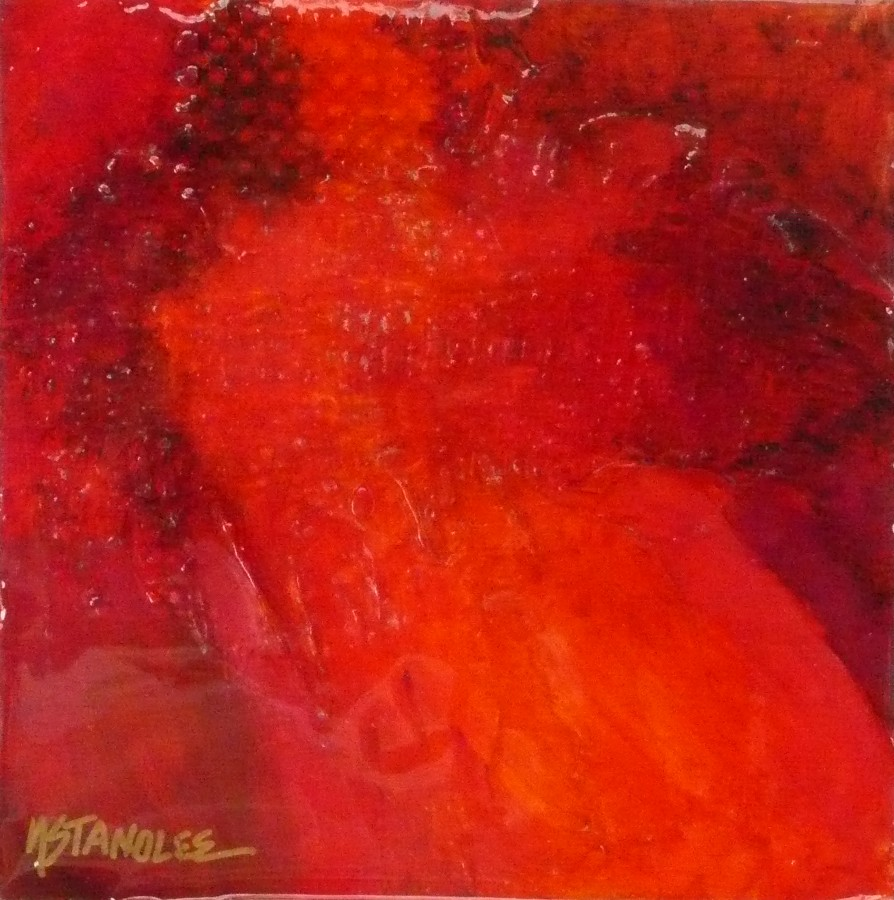 Epoxy Acrylic Painting : Nancy standlee fine art abstract acrylic red mixed media