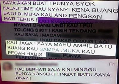 Nabila AF 2013 diugut bunuh!, mesej ugutan bunuh nabila af 2013