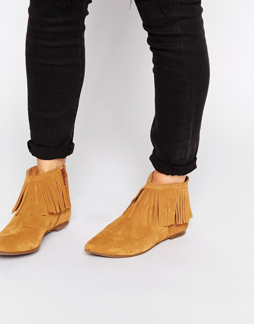 brown suede tassel ankle boots