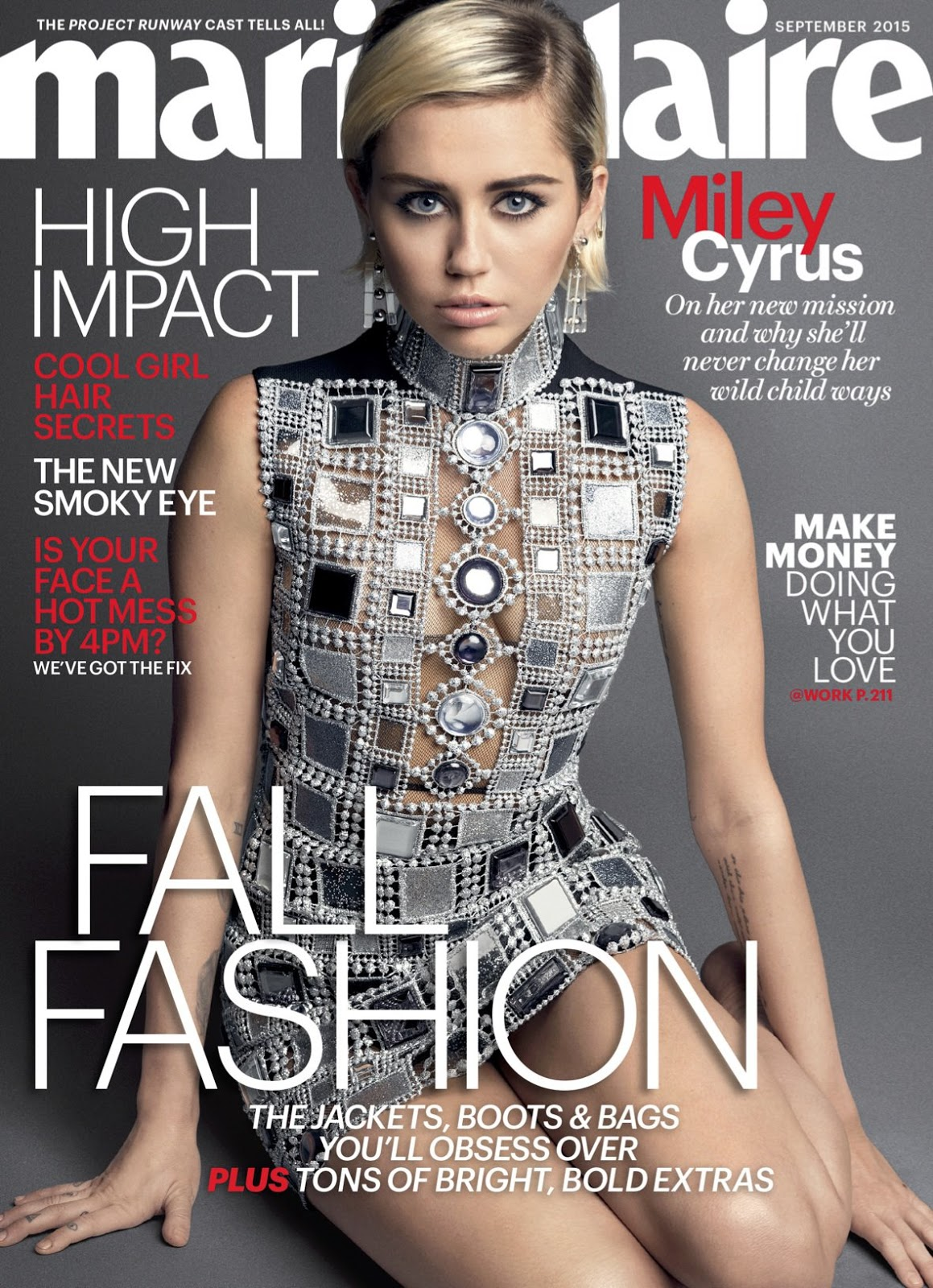 Miley Cyrus flashes skin for the Marie Claire US September 2015, thrashes Taylor Swift