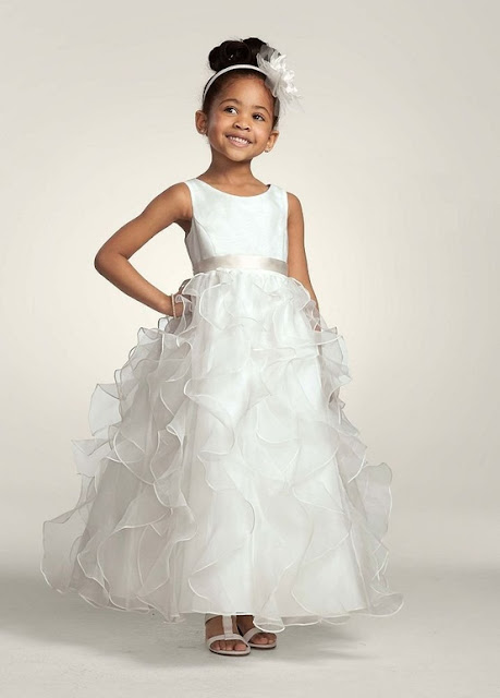 David's Bridal Flower Girl Organza Dress with Ruffled Skirt and Sash at Waist