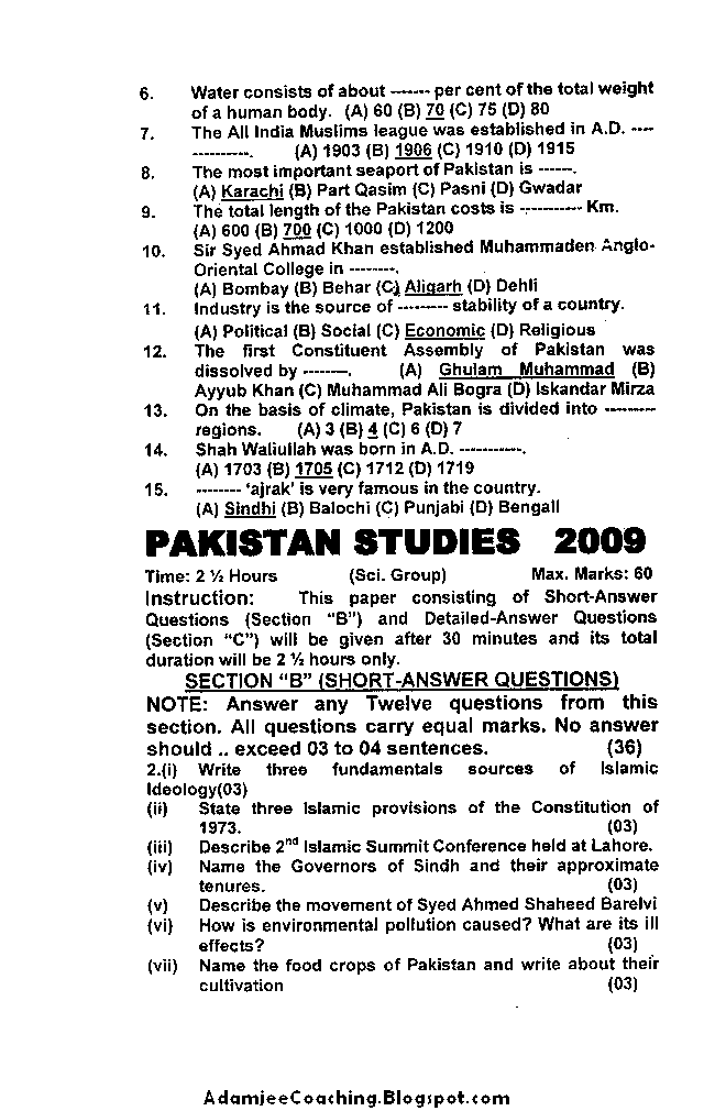 IX Pakistan Studies Past Year Papers
