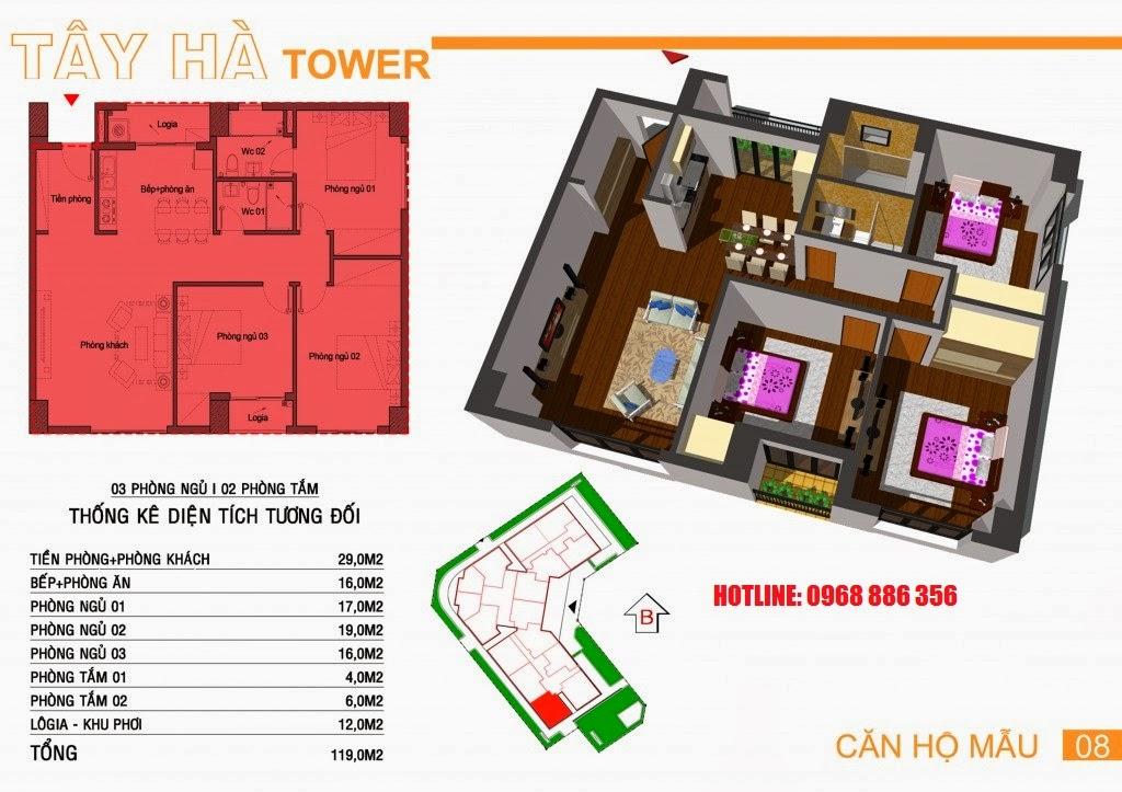 Căn hộ số 8 chung cư Tây Hà Tower