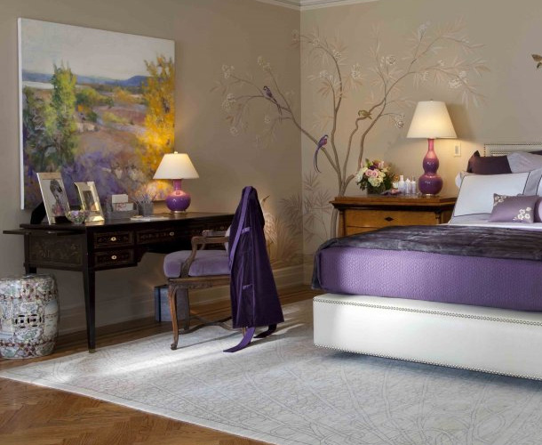 Decorating Ideas > Purple Bedroom Decor Ideas With Grey Wall And White Accent  ~ 181233_Bedroom Decorating Ideas Purple