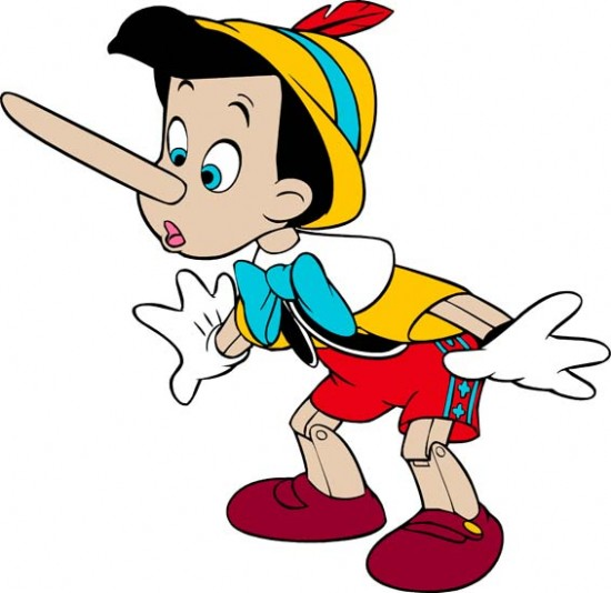 When Pinnochio tells a lie, his nose grows long.