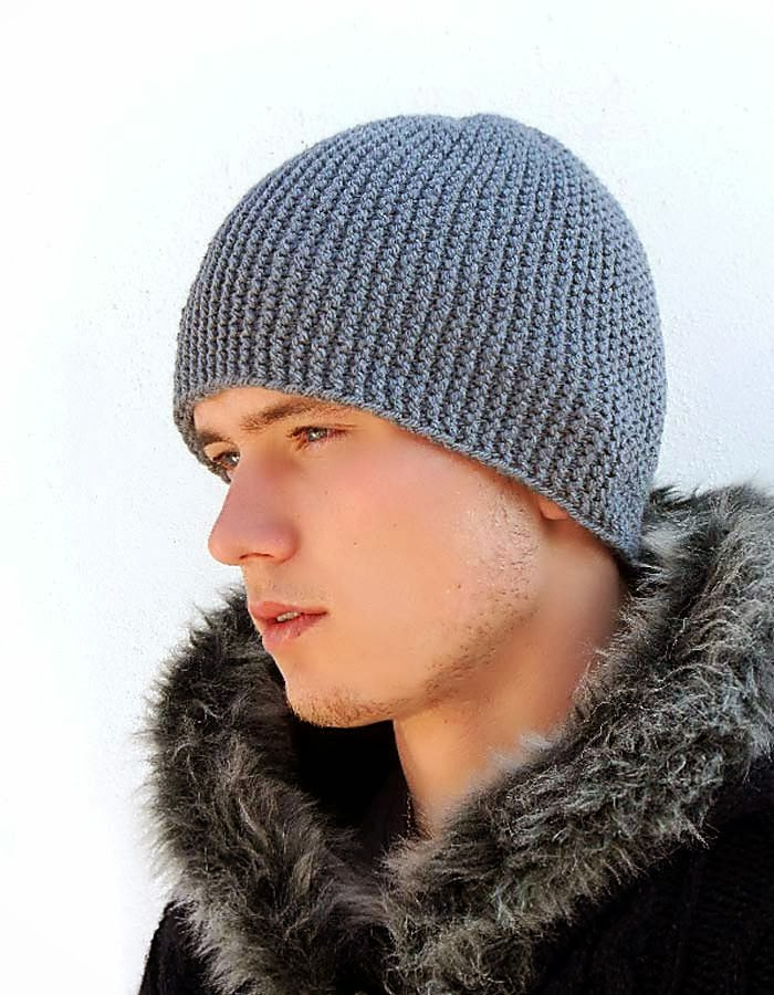 Mens Knitted Hat Patterns : ACCESSORY GALLERY: Mens Knit Hat, Slouchy beanie, Gray ...