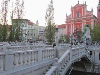 Triple Bridge in Presernovtrg - Ljubljana, Slovenia